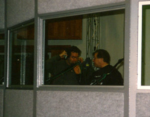 """Maury Yeston and me in the recording booth recording ""Barrett's Song."""